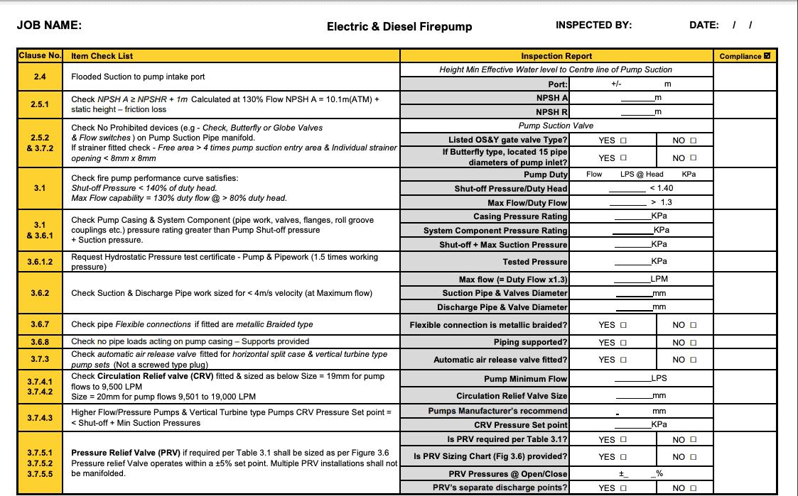 AS2941 Fire Pump Checklist